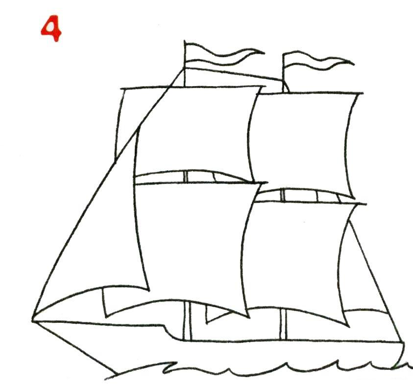 Нарисованный карандашом корабль с парусами